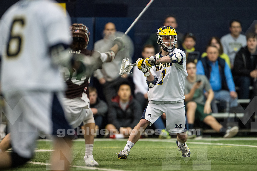 The University of Michigan men's lacrosse team falls to Brown, 22-12, at Oosterbaan Field House in Ann Arbor, Mich. on February 8, 2015.