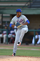 Kingsport Mets starting pitcher Junior Santos (17) delivers a pitch during a game against the Elizabethton Twins at Northeast Community Credit Union Ballpark on July 5, 2019 in Elizabethton, Tennessee. The Twins defeated the Mets 7-1. (Tracy Proffitt/Four Seam Images)