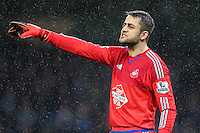 Lukasz Fabianski points during the Barclays Premier League Match between Manchester City and Swansea City played at the Etihad Stadium, Manchester on 12th December 2015