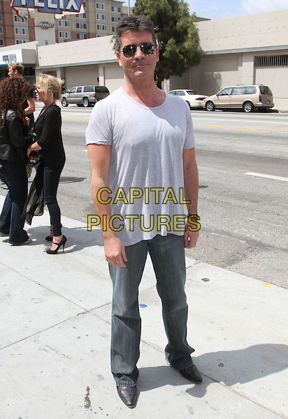 SIMON COWELL.The X Factor Los Angeles auditions  Held At The Galen Center, Los Angeles, California, USA..May 8th, 2011.full length grey gray t-shirt  aviators sunglasses shades jeans denim.CAP/ADM/KB.©Kevan Brooks/AdMedia/Capital Pictures.