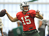Josh McCown #15 throws a pass during New York Jets Training Camp at the Atlantic Health Jets Training Center in Florham Park, NJ on Monday, Aug. 7, 2017.