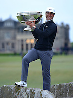 Thorbjorn Olesen of Denmark poses with the trophy on the Swilcan Bridge following his victory during the Final Round of the 2015 Alfred Dunhill Links Championship at the Old Course, St Andrews, in Fife, Scotland on 4/10/15.<br /> Picture: Richard Martin-Roberts | Golffile