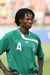 12 August 2008: Perpetua Nkwocha (NGA).  The women's Olympic team of Brazil defeated the women's Olympic soccer team of Nigeria 3-1 at Beijing Workers' Stadium in Beijing, China in a Group F round-robin match in the Women's Olympic Football competition.