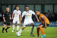 Jordan Ayew of Swansea City takes on Curtis Weston of Barnet during the 2017/18 Pre Season Friendly match between Barnet and Swansea City at The Hive, London, England on 12 July 2017. Photo by Andy Rowland.