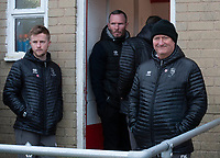 Lincoln City's head of sports science and medicine Mike Hine, left, Michael Appleton, centre, David Kerslake during the pre-match warm-up<br /> <br /> Photographer Andrew Vaughan/CameraSport<br /> <br /> The EFL Sky Bet League One - Accrington Stanley v Lincoln City - Saturday 15th February 2020 - Crown Ground - Accrington<br /> <br /> World Copyright © 2020 CameraSport. All rights reserved. 43 Linden Ave. Countesthorpe. Leicester. England. LE8 5PG - Tel: +44 (0) 116 277 4147 - admin@camerasport.com - www.camerasport.com
