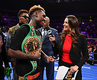ONTARIO, CA - DECEMBER 21: Heidi Androl interviews Jermell Charlo after he defeated Tony Harrison to take the WBC World Super Welterweight Championship on the Fox Sports PBC Fight Night at Toyota Arena on December 21, 2019 in Ontario, California. (Photo by Frank Micelotta/Fox Sports/PictureGroup)