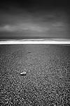 British coastal scene with long exposure on beach