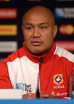 ENG - Newcastle upon Tyne, England, October 08: During the Media Conference at the Captains Run of Tonga on October 8, 2015 at St. James Park in Newcastle upon Tyne, England. (Photo by Dirk Markgraf / www.265-images.com) *** Local caption *** Nili Latu of Tonga