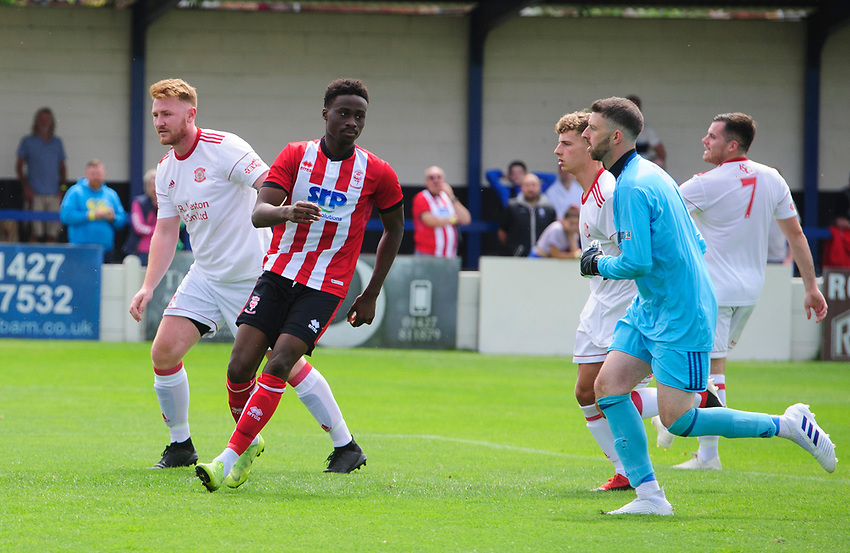 Lincoln City's Jordan Adebayo-Smith celebrates scoring his side's second goal<br /> <br /> Photographer Chris Vaughan/CameraSport<br /> <br /> Football Pre-Season Friendly (Community Festival of Lincolnshire) - Lincoln City v Lincoln United - Saturday 6th July 2019 - The Martin & Co Arena - Gainsborough<br /> <br /> World Copyright © 2018 CameraSport. All rights reserved. 43 Linden Ave. Countesthorpe. Leicester. England. LE8 5PG - Tel: +44 (0) 116 277 4147 - admin@camerasport.com - www.camerasport.com