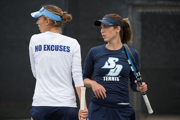 April 22, 2015; San Diego, CA, USA; San Diego Toreros tennis players Marta Stojanovic (left) and Shani Blecher (right) during the WCC Tennis Championships at Barnes Tennis Center.