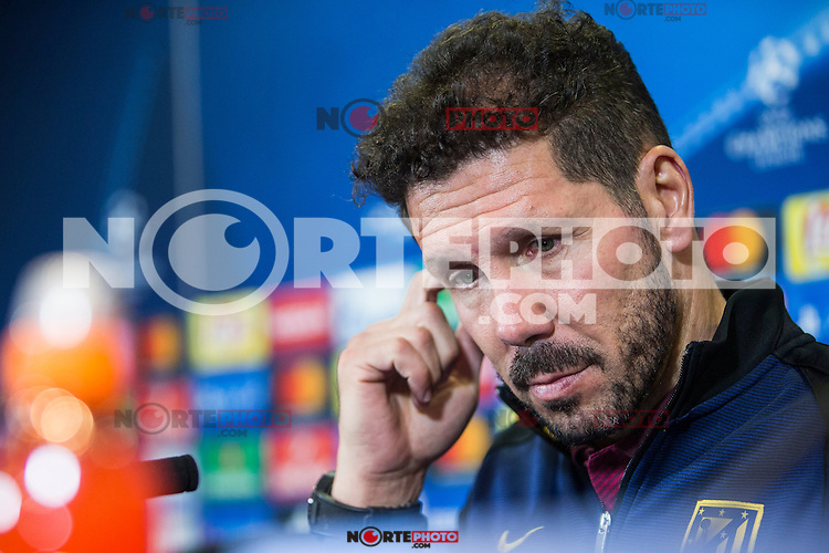 Atletico de Madrid's coach Diego Pablo Cholo Simeone during the press conference before the match of UEFA Champions League between Atletico de Madrid and FC Rostov, at Vicente Calderon Stadium,  Madrid, Spain. October 31, 2016. (ALTERPHOTOS/Rodrigo Jimenez) /NORTEPHOTO.COM