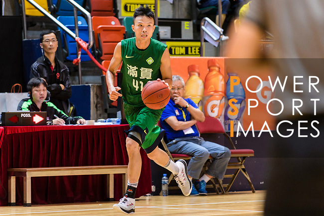 Au Yeung Wai Kong #41 of Tycoon Basketball Team dribbles the ball up court against the Winling during the Hong Kong Basketball League playoff game between Winling and Tycoon at Queen Elizabeth Stadium on July 24, 2018 in Hong Kong. Photo by Marcio Rodrigo Machado / Power Sport Images