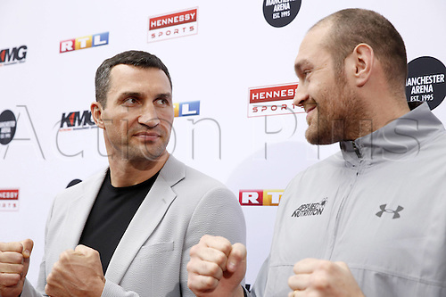 28.04.2016. Cologne, Germany. Tyson Fury and Vladimir Klitschko at the press conference to launch the upcoming havuweight World Championship fight of Fury versus Klitschko II at the studio of Mediengruppe RTL