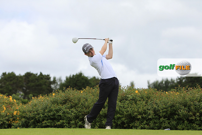 Oisin O'Driscoll (FRA) on the 18th tee during R1 of the 2016 Connacht U18 Boys Open, played at Galway Golf Club, Galway, Galway, Ireland. 05/07/2016. <br /> Picture: Thos Caffrey | Golffile<br /> <br /> All photos usage must carry mandatory copyright credit   (&copy; Golffile | Thos Caffrey)