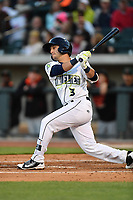 Shortstop Michael Paez (3) of the Columbia Fireflies bats in a game against the Augusta GreenJackets on Opening Day, Thursday, April 6, 2017, at Spirit Communications Park in Columbia, South Carolina. Columbia won, 14-7. (Tom Priddy/Four Seam Images)