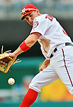 12 April 2012: Washington Nationals third baseman Ryan Zimmerman in action against the Cincinnati Reds at Nationals Park in Washington, DC. The Nationals defeated the Reds 3-2 in 10 innings to take the first game of their 4-game series. Mandatory Credit: Ed Wolfstein Photo