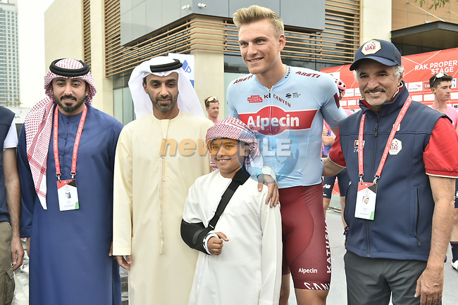 Marcel Kittel (GER) Team Katusha Alpecin with dignitaries before the start of Stage 6 of the 2019 UAE Tour, running 175km form Ajman to Jebel Jais, Dubai, United Arab Emirates. 1st March 2019.<br /> Picture: LaPresse/Fabio Ferrari | Cyclefile<br /> <br /> <br /> All photos usage must carry mandatory copyright credit (© Cyclefile | LaPresse/Fabio Ferrari)