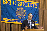 OAKLAND, CA - November 4, 2016: 2016 Inductee Jerrott Willard speaks at the Big C Society 31st Annual Hall of Fame Banquet at the Greek Orthodox Cathedral.