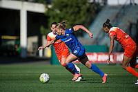 Seattle, Washington - Sunday, June 12, 2016: Seattle Reign FC forward Merritt Mathias (9) drives to the goal during a regular season National Women's Soccer League (NWSL) match at Memorial Stadium. Seattle won 1-0.