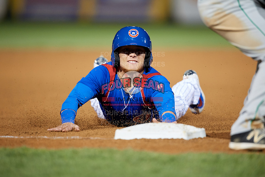 South Bend Cubs designated hitter D.J. Wilson (2) slides into third base during a game against the Clinton LumberKings on May 5, 2017 at Four Winds Field in South Bend, Indiana.  South Bend defeated Clinton 7-6 in nineteen innings.  (Mike Janes/Four Seam Images)