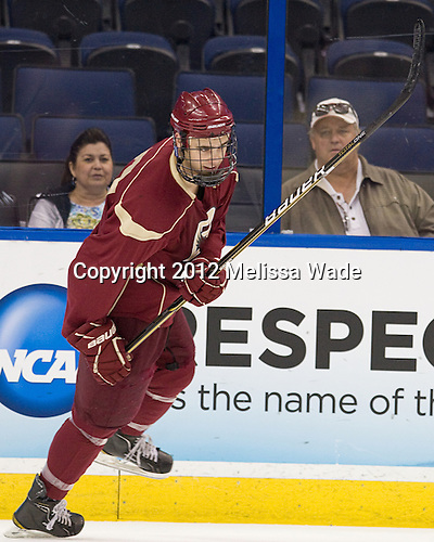 Isaac MacLeod (BC - 7) - The Boston College Eagles practiced on Wednesday, April 4, 2012, during the 2012 Frozen Four at the Tampa Bay Times Forum in Tampa, Florida.