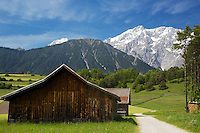Barn, farming, Wildermieming, Austria. Wildermieming-Dorf, Wildermieming-Siedlung and Affenhausen form the municipality of Wildermieming, located in the eastern Mieminger plateau. The name of Affenhausen derives from Saint Afra, who is the patron saint of carters. In the 19th century Wildermieming has been separated from Mieming.