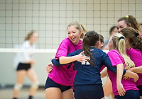 NWA Democrat-Gazette/CHARLIE KAIJO Bentonville West High School girls volleyball players react following a score during the girl's volleyball game on Thursday, October 12, 2017 at Bentonville West High School in Centerton.