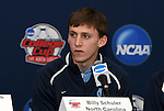 10 December 2009: Sophomore forward Billy Schuler. The University of North Carolina Tar Heels held a press conference at WakeMed Soccer Stadium in Cary, North Carolina on the day before playing Akron in an NCAA Division I Men's College Cup semifinal game.