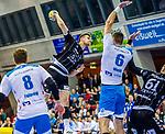 Nikola Bilyk, (THW Kiel #53) / Weiss, Dominik (TVB Stuttgart #6) / Faluvegi, Rudolf (TVB Stuttgart #8) / TVB 1898 Stuttgart - THW Kiel / DHB Pokal Viertelfinale / HBL / 1.Handball-Bundesliga / SCHARRrena / Stuttgart Baden-Wuerttemberg / Deutschland beim Spiel im DHB Pokal Viertelfinale, TVB 1898 Stuttgart - THW Kiel.<br /> <br /> Foto © PIX-Sportfotos *** Foto ist honorarpflichtig! *** Auf Anfrage in hoeherer Qualitaet/Aufloesung. Belegexemplar erbeten. Veroeffentlichung ausschliesslich fuer journalistisch-publizistische Zwecke. For editorial use only.