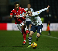 Preston North End's Brandon Barker battles with Middlesbrough's Marcus Tavernier<br /> <br /> Photographer Stephen White/CameraSport<br /> <br /> The EFL Sky Bet Championship - Preston North End v Middlesbrough - Tuesday 27th November 2018 - Deepdale Stadium - Preston<br /> <br /> World Copyright © 2018 CameraSport. All rights reserved. 43 Linden Ave. Countesthorpe. Leicester. England. LE8 5PG - Tel: +44 (0) 116 277 4147 - admin@camerasport.com - www.camerasport.com