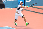 Kaito Uesugi (JPN), <br /> AUGUST 22, 2018 - Tennis : <br /> Men's Doubles Round of 16<br /> at Jakabaring Sport Center Tennis Court <br /> during the 2018 Jakarta Palembang Asian Games <br /> in Palembang, Indonesia. <br /> (Photo by Yohei Osada/AFLO SPORT)