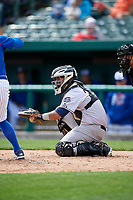 Kane County Cougars catcher Alexis Olmeda (23) waits to receive a pitch during a game against the South Bend Cubs on May 3, 2017 at Four Winds Field in South Bend, Indiana.  South Bend defeated Kane County 6-2.  (Mike Janes/Four Seam Images)