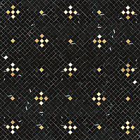 "Tzarry Tzarry Sky, hand-cut stone mosaic, shown in polished Nero Marquina with Brass, is part of Cean Irminger's second KIDDO Collection, ""KIDDO: Wunderkammer® Edition"" for New Ravenna."