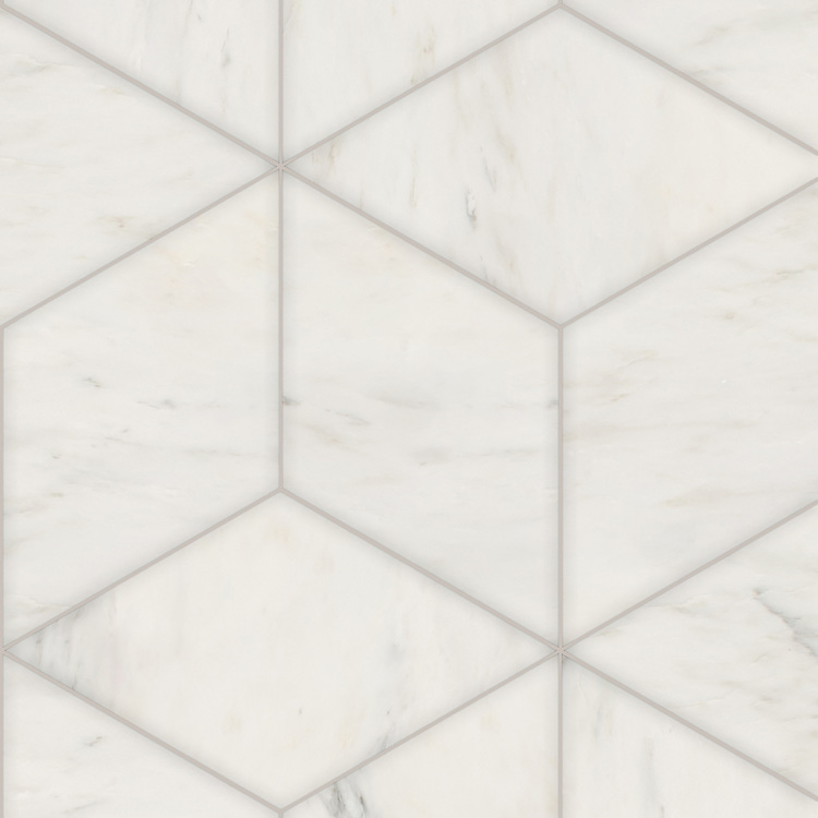 Euclid Grandiose, a hand-cut stone mosaic, shown in polished Calacatta Radiance, is part of the Semplice® collection for New Ravenna.