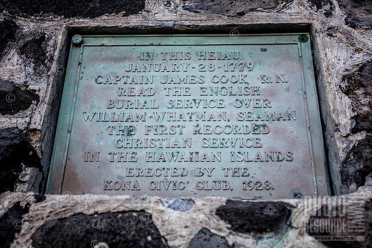 Memorial plaque at the Hikiau Heiau, Kealakekua Bay, Big Island.
