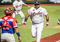 Luis Jimenez, de los Caribes de Anzoátegui de Venezuela, corre  hacia home para anotar la primera carrera del partido en la parte baja del segundo inning, contra Caguas de Puerto Rico, durante la Serie del Caribe en estadio Panamericano en Guadalajara, México, Miércoles 7 feb 2018.  (Foto: AP/Luis Gutierrez)
