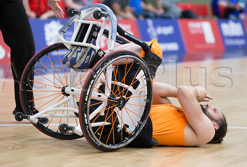 03.07.2016. Leicester Sports Arena, Leicester, England. Continental Clash Wheelchair Basketball Holland versus Australia. Frank De Jong (NLD) knocked over during the match