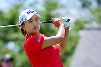 Jin Young Ko (KOR) watches her tee shot on 1 during Sunday's final round of the 72nd U.S. Women's Open Championship, at Trump National Golf Club, Bedminster, New Jersey. 7/16/2017.<br /> Picture: Golffile | Ken Murray<br /> <br /> <br /> All photo usage must carry mandatory copyright credit (&copy; Golffile | Ken Murray)