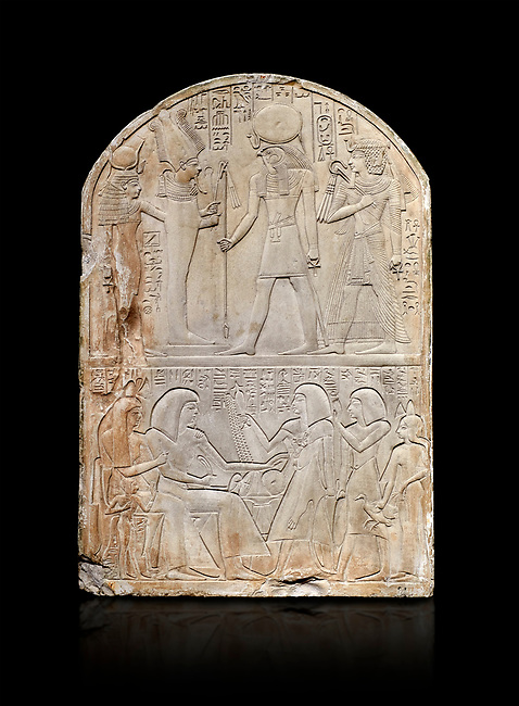 Ancient Egyptian stele dedicated to the god Re-Harakhty by sculptor Ipy, limestone, New Kingdom, 19th Dynasty, (1279-1213 BC), Deir el-Medina, Drovetti cat 7357. Egyptian Museum, Turin. black background,