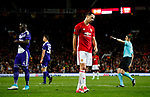 Zlatan Ibrahimovic of Manchester United reacts after missing a chance during the UEFA Europa League Quarter Final 2nd Leg match at Old Trafford, Manchester. Picture date: April 20th, 2017. Pic credit should read: Matt McNulty/Sportimage