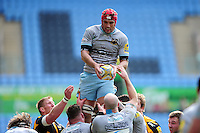 Christian Day of Northampton Saints wins the ball at a lineout. Aviva Premiership match, between Wasps and Northampton Saints on April 3, 2016 at the Ricoh Arena in Coventry, England. Photo by: Patrick Khachfe / JMP