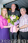 OPENING: Siobhan Fleming Irish Rugby Star and Castleisland who opened the Castleislkand Carnival/Festival Weekend on Thursday night in the Casdtleisland Rugby Club Marquee.L-r: Charlie Farrelly, Dan Casey and Siobhan Fleming..and was presented with a bouquie of flowers after the opening.
