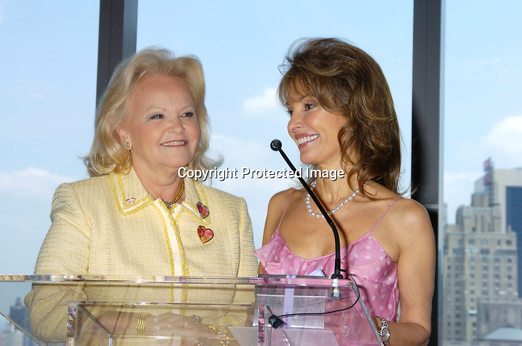 Jane Pontarelli and Susan Lucci ..at The Rose Luncheon benefitting Little Flower Children's ..Services on June 15, 2004 at the Mandarin Oriental Hotel...Photo by Robin Platzer, Twin Images. ..Jane Pontarelli was the Chairwoman of the event.