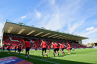 Lincoln City players during the pre-match warm-up<br /> <br /> Photographer Chris Vaughan/CameraSport<br /> <br /> The EFL Sky Bet League Two - Lincoln City v Swindon Town - Saturday 11th August 2018 - Sincil Bank - Lincoln<br /> <br /> World Copyright &copy; 2018 CameraSport. All rights reserved. 43 Linden Ave. Countesthorpe. Leicester. England. LE8 5PG - Tel: +44 (0) 116 277 4147 - admin@camerasport.com - www.camerasport.com