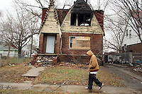 Abandoned and burnt out houses in the blighted suburbs north of Detroit, Michigan. The City has borne the brunt of the economic downturn.