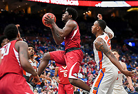 NWA Democrat-Gazette/CHARLIE KAIJO Arkansas Razorbacks guard Jaylen Barford (0) leaps for a layup during the Southeastern Conference Men's Basketball Tournament quarterfinals, Friday, March 9, 2018 at Scottrade Center in St. Louis, Mo.