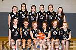 Gaelcholaiste Basketball team in the All Ireland b semi finals in the Sports Complex last Friday morning. Seated l-r, Paris Ni Charthaigh, Abbie Ni Bhrosanachain, Caoimhe Ni Chearbhaill, Eimer Ni Shuilleabhain, Sadhbh De Phrionndaivhein and Emily Ni Cuileagoid. <br /> Back l-r, Nicole Ni Chonchuir, Sophie Lowhim, Dearbhla Ni Chuirc, Aoife Ni Dhuilleain, Avi Ni Chathasaigh and Eve Ni Chriodain.