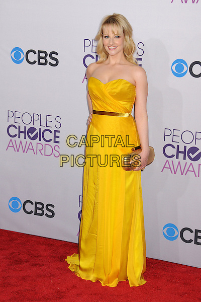 Melissa Rauch.People's Choice Awards 2013 - Arrivals held at Nokia Theatre L.A. Live, Los Angeles, California, USA..January 9th, 2013.full length dress gold belt clutch bag yellow strapless.CAP/ADM/BP.©Byron Purvis/AdMedia/Capital Pictures.