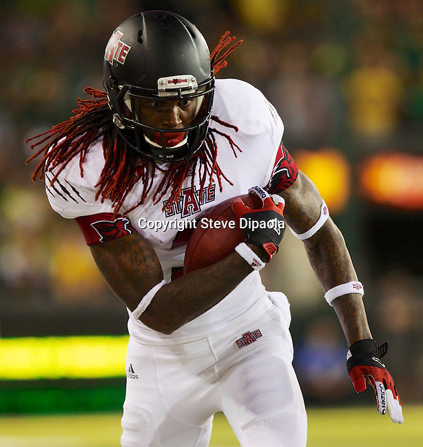 9/1/12 8:22:21 PM -- Eugene, OR, U.S.A. -- Arkansas State wide receiver Josh Jarboe vs. University of Oregon Ducks in Eugene. -- ...Photo by Steve Dipaola for USA Today.