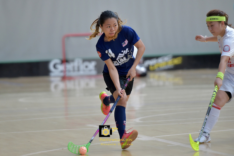 Malaysia's Chrinel Crystel Marcus in action during the World Floorball Championships 2017 Qualification for Asia Oceania Region - Malaysia v China at ASB Sports Centre , Wellington, New Zealand on Sunday 5 February 2017.<br /> Photo by Masanori Udagawa<br /> www.photowellington.photoshelter.com.